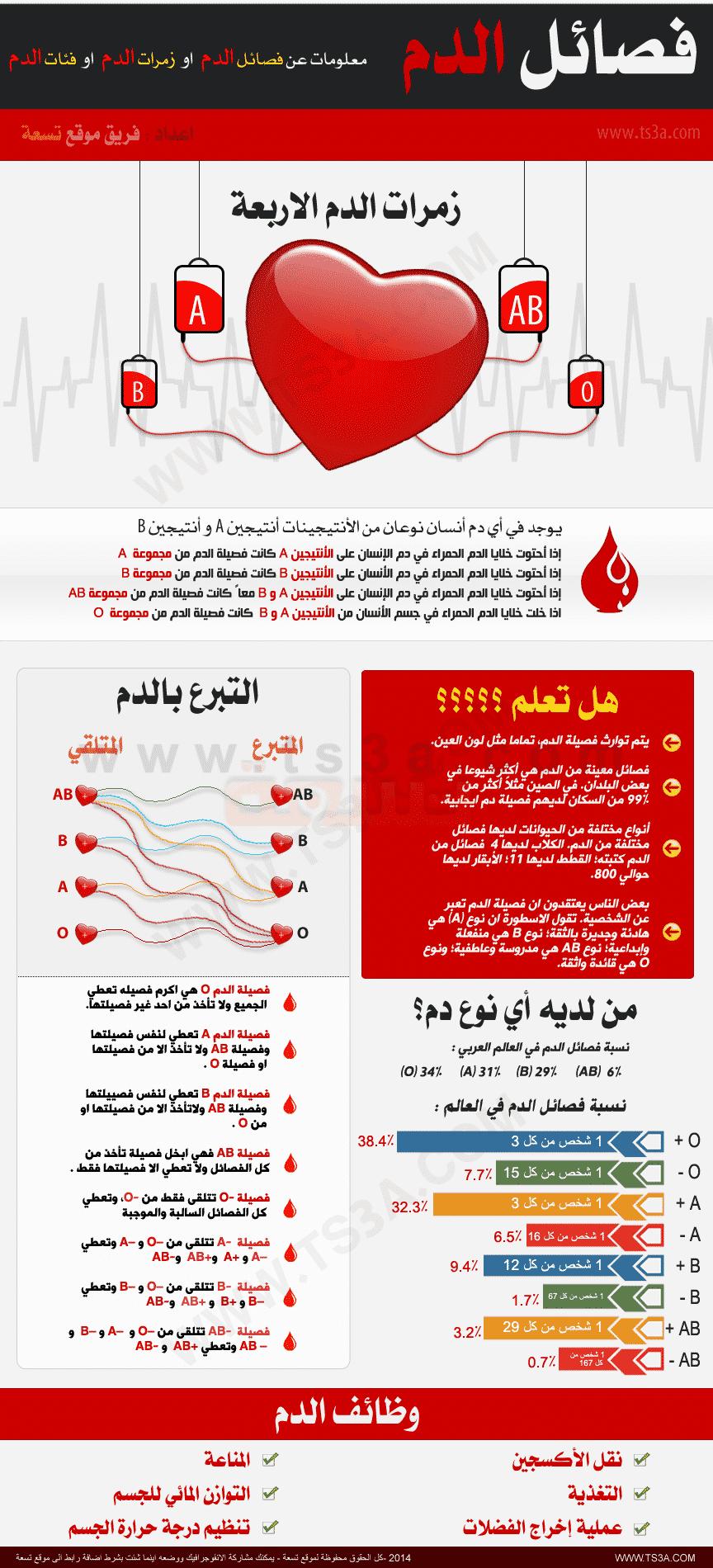 انفوجرافيك فئات الدم - موقع تسعة