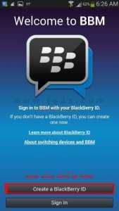تنصيب تطبيق بلاك بيري مسنجر BBM - انشاء هوية بلاك بيري جديدة