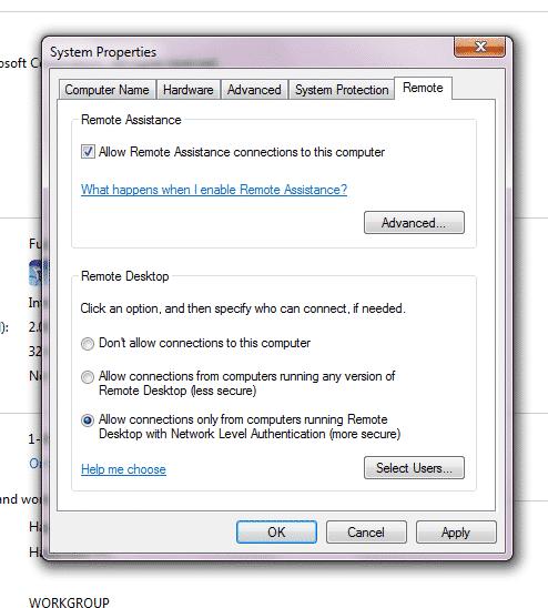 الوصول إلى الكمبيوتر عن بعد